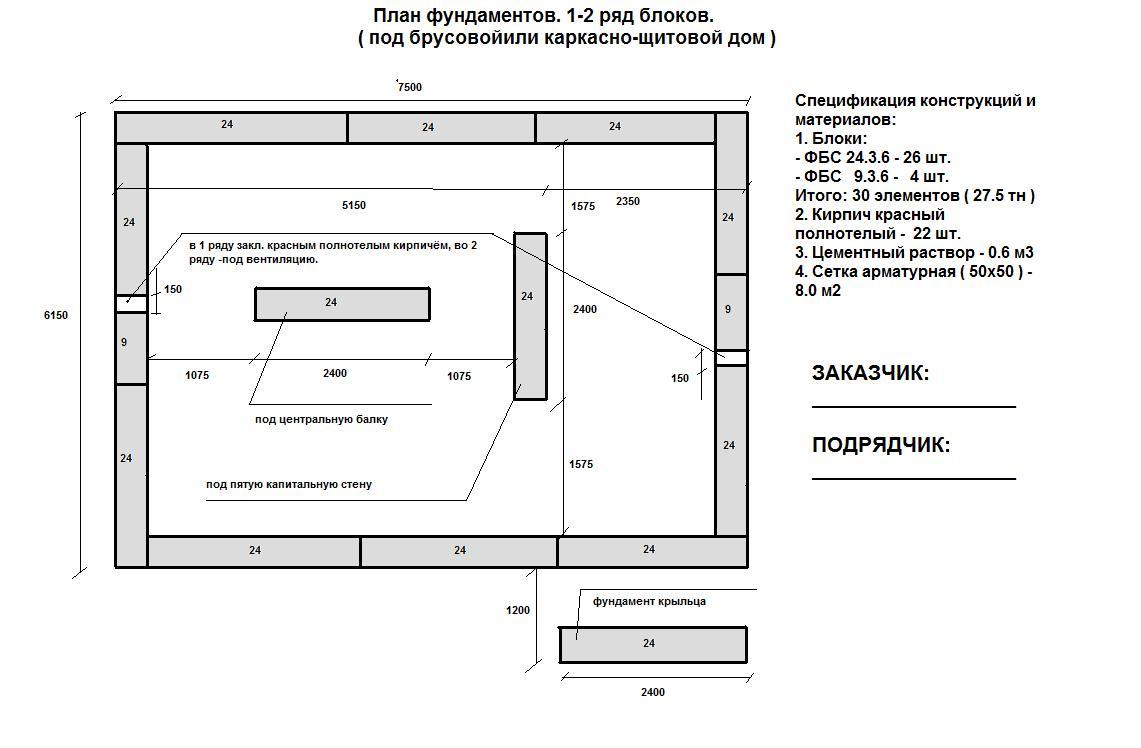 План схема фундамента